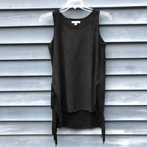 She and Sky Black Faux Suede Fringe Top